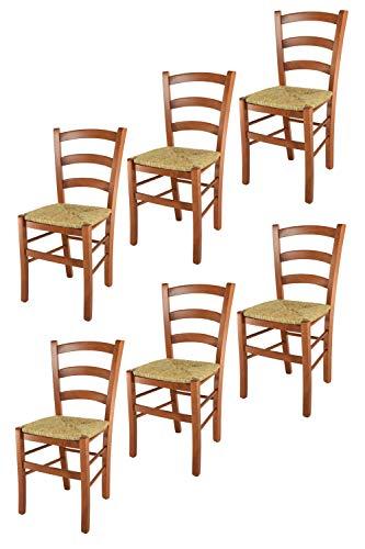 t m c s Tommychairs - Set 6 sillas Venice para Cocina y Comedor, Estructura en Madera de Haya Color Cerezo y Asiento en Paja
