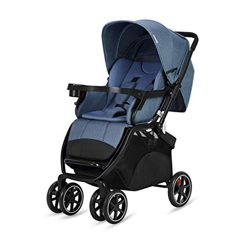 CHFQ - Cochecito de bebé Ligero, Alto Paisaje, Sentado, acostado, Plegable, con Cuatro Ruedas, Carro de Choque, Carrito Plegable para niños (Gris) (Color: B)