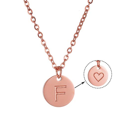 AFSTALR Rose Gold Women Letter Necklace Love Heart Initial Necklace Name Personalized jewellry for Girls Love Gift for Girlfriend Letter Pendant F Rose Gold