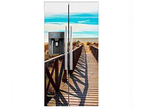 Vinilo Frigorífico Americano Puente Madera Playa | 91X177cm | Varias Medidas |...