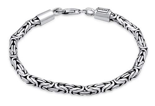 Kuzzoi Buddha Silber-Armband für Herren, handgefertigtes Königskette-Armband aus echten massiven 925 Sterling Silber, Herren-Armband mit Karabiner, 4mm breit, 20g schwer, 0206141819