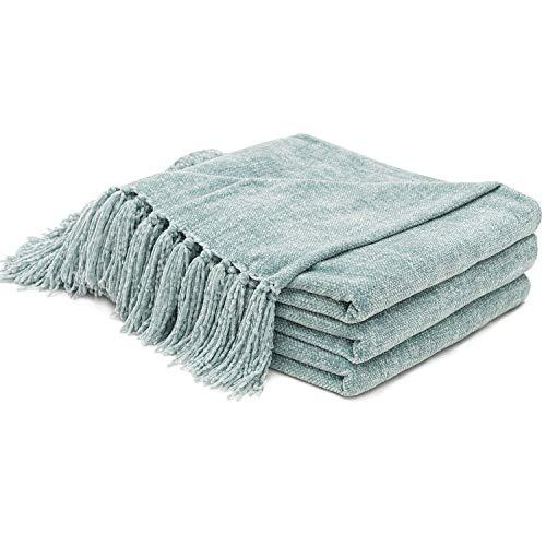 RECYCO - Manta de chenilla suave y acogedora con flecos decorativos para sofá, silla, cama y sala de estar (salvia, 152 x 203 cm)