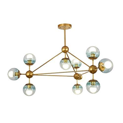 Nordic Retro Kroonluchters, 10 Light Glass Decoratieve Kroonluchters, Geschikt for Modern, Retro, Loft, Europese en andere stijlen.