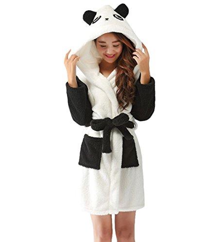 Y&L Erwachsenen-Unisex-Weiche Fleece-Cartoon-Bademäntel mit Kapuze Nachtwäsche Bademäntel Housecoat Kleider mit Gürtel Panda Medium