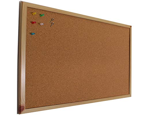 Chely Intermarket Tablero de corcho pared 50x70 cm con marco de madera (suro pared). Pizarra ideal como panel o tablon calendario,mapa,fotos y anuncios.(552-50x70-0,65)