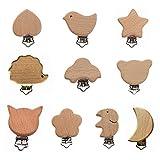 Kiwochy 10 Stück Holz Schnuller Clips Baby Beißring Nippel Halter Natürliche Holz Schnullerketten Clips aus Hochwertigem Holz Metall Holz Säugling Schnuller Verschlüsse Halter Zubehör