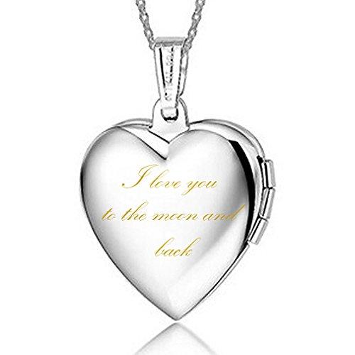 IXIQI Jewelry - Medaglione a forma di cuore, placcato in argento, per foto con incisione...