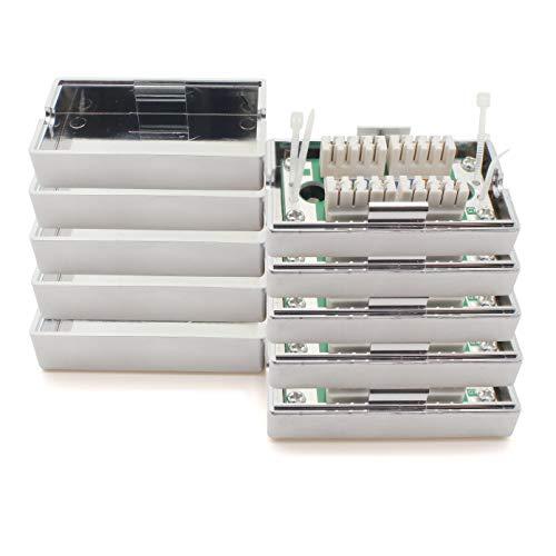 1aTTack.de Verbindungsbox 361842 LSA+ Netzwerk Anschlussbox Verlängerung LSA+ Montage CAT.5 5 Stück Silber