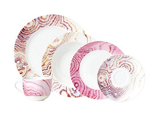Crown Baccara MARSALA 18 Vajilla Redonda de Porcelana para 4 Personas, 20 Piezas