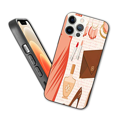 Heels and Dresses Designed for iPhone 12 Pro Case,Accessories Fashion Cocktail Dress Lipstick Earrings High Heels,Silicone Shockproof Phone Case with Anti-Scratch Lining, 6.1 inch,Salmon Brown