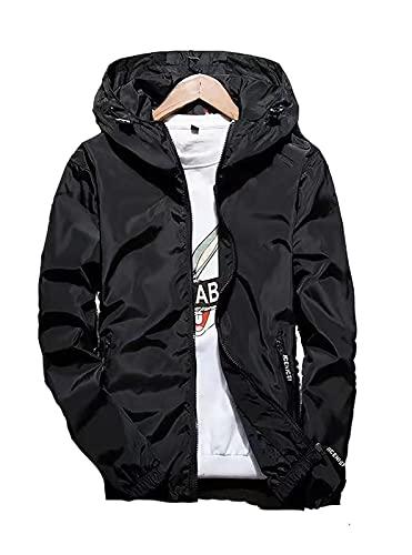 giacca 7xl Giacca Antipioggia Uomo Giubbotto Giacca a Vento Giacche (Nero