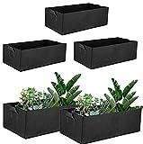 ZWWZ Paquete de 5 Bolsas rectangulares para Cultivo de jardín,Bolsas de Fieltro para jardineras,macetas cuadradas de Tela para macetas con Asas
