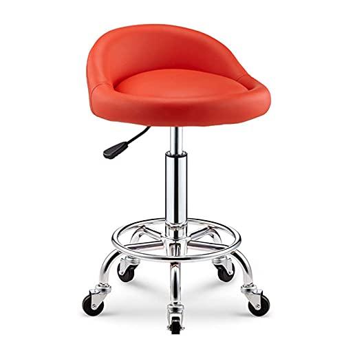 QLIGAH - Taburete de bar, silla de salón ajustable, taburete giratorio sobre ruedas, taburete giratorio de piel, taburete de trabajo ajustable, material profesional