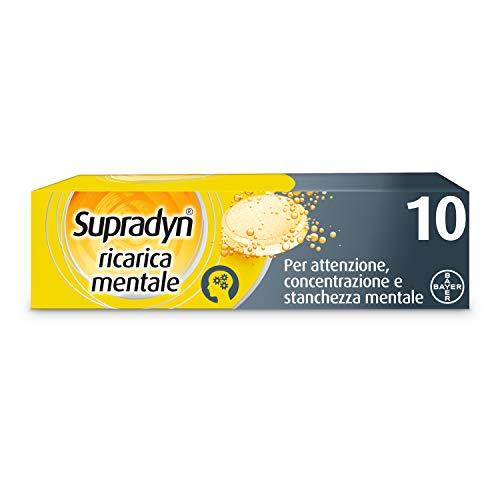 Supradyn Ricarica Mentale Integratore Alimentare Multivitaminico, Caffeina e Guaranà per Attenzione e Concentrazione, 10 Compresse Effervescenti