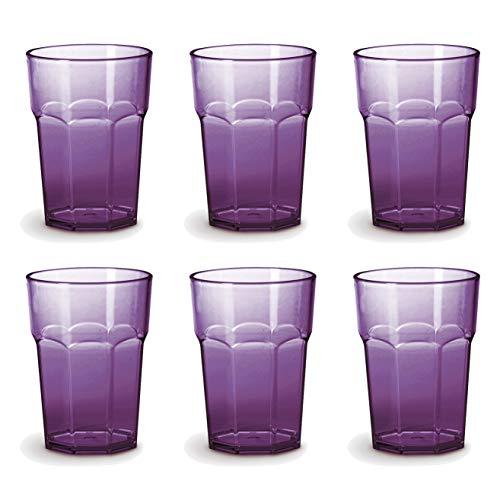 Omada Design Set di 6 Bicchieri bar, da bibita o long drink 42,5 cl, altezza 12,5 cm in plastica, infrangibili, impilabili forma ottagonale e lavabili in lavastoviglie linea Unglassy (6 pezzi Viola)