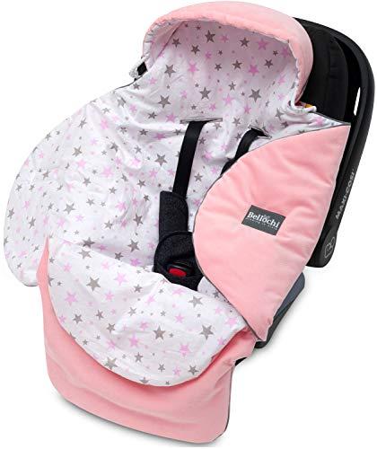 Bellochi Universal Baby Einschlagdecke für Babyschale und Autositz Kinderwagendecke Fußsäck aus Baumwolle und Samt z.B. passend für Maxi-Cosi, Römer, Cybex - Rosa