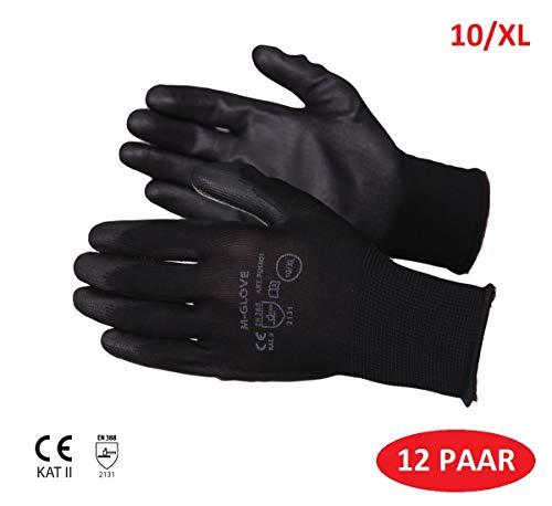 M-Glove 12 Paar Schutzhandschuhe aus Nylon mit Polyurethan Beschichtung Handschuhe ®Auto-schmuck (10/XL)