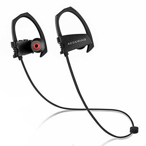 Accering Wireless Bluetooth Headphones, Best Running/Sports Earphones, IPX7 Sweatproof Bass Stereo in Ear Headset with Mic for iPhone, Gym, Workout