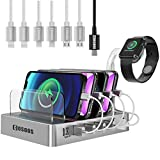 105W Charging Station for iPhone 12, iPad Pro/Air, USB-C Laptop, Macbook, Samsung,COSOOS 6-Port USB Charger Station for Multiple Devices with Power Delivery PD & QC 3.0, 7 Mixed USB Cable,iWatch Stand