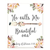 'He Calls Me Beautiful One' Song of Solomon 2:10- Bible Verse Wall Print-8x10'-Floral Scripture Wall Art-Ready to Frame. Home Décor- Office Décor-Christian Gifts. Great Verse for Ladies-Young & Old.