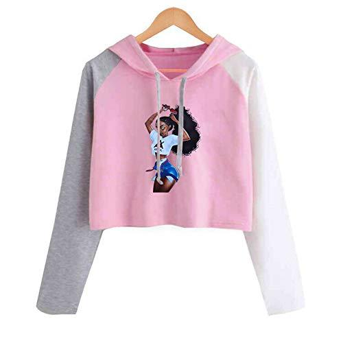 HOSD de a con para Colores Juego Corto Capucha Suéter de con Estampado Mujer Mujer Larga Manga de