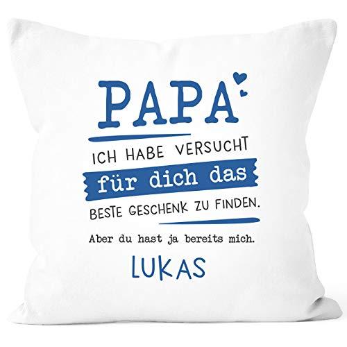 SpecialMe® Kissen-Bezug personalisiertes Geschenk Spruch Papa/Mama Ich Habe versucht Finden anpassbarer Name Dekokissen Papa weiß Unisize