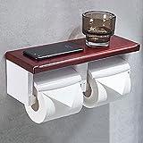 KSSPOI Portarrollos para Papel Higiénico Porta Rollos con Soporte Sin Taladro para Teléfono Celular Toallero Doble de Pared Baño Creativo multifunción Industrial