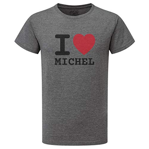 JOllify Michel T-Shirt mit hochwertigem Druck – I Love – Größe: XXL – Farbe: grau Charcoal