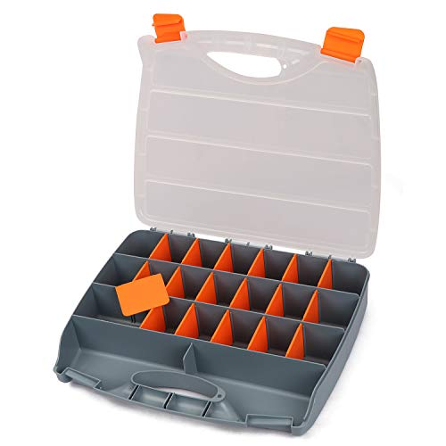 CASOMAN Hardware Box Storage. Organizer Container with Handle and Clear Lid, 21 Adjustable Compartments and 2 Fixed Sections Excellent for Screws,Nuts, Bolts and Small Parts