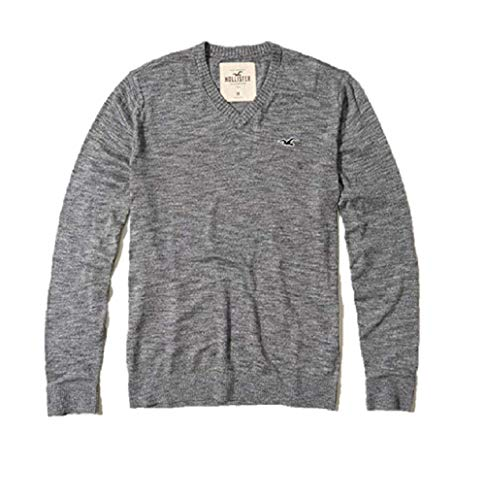 Hollister Neuer Abercrombie SMALL S Heather Grey V – Neck MÄNNER Sweater Jumper SZ S