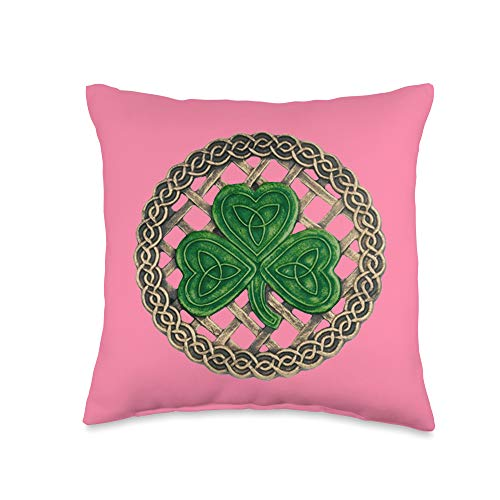 Atteestude Green Shamrock, Celtic Knots With Pink Background Throw Pillow, 16x16, Multicolor
