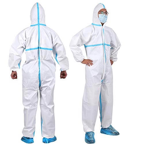 YIBER Disposable Protective Coverall Hazmat Suit - Heavy-Duty Protective Suits Chemical Protection - Full Body Protective from Hazmat and Contamination 1pcs / pack (XXXXL)