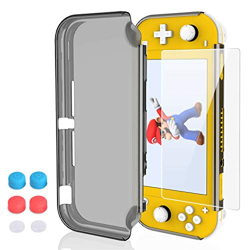 Case for Nintendo Switch Lite, HEYSTOP PC Clear Protective Case Cover for Nintendo Switch Lite with Switch Lite Tempered Glass Screen Protector and Thumb Stick Caps(Black)