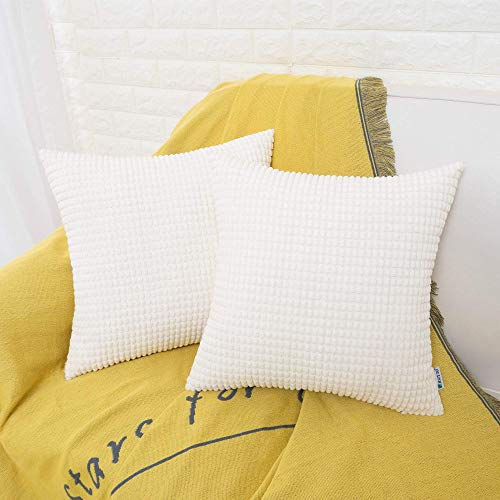 HWY 50 Decorative Throw Pillows Covers, Corduroy Soft Comfy Solid Cream White Pillow Covers Cushion Cases Set for Couch Sofa Bedroom Bed 20 x 20 inch Pack of 2, Corn Striped Decoration