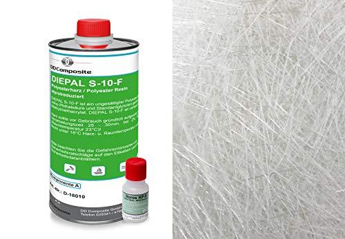 1kg GFK Polyesterharz + 1m² Glasfasermatte 450g/m²