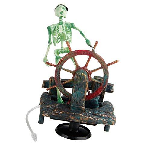 Sharplace Air Pump Bubbling Resin Skeleton in Waterwheel Ornament for Aquarium Fish Tank Background Decoration