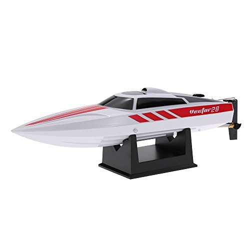 FMT Radio Remote Controlled 2.4GHz High Speed 30km/h Electric RC Boat for Pools Bathtubs Lakes, Best Gifts for Kids and Adults White (Only Work In The Water)