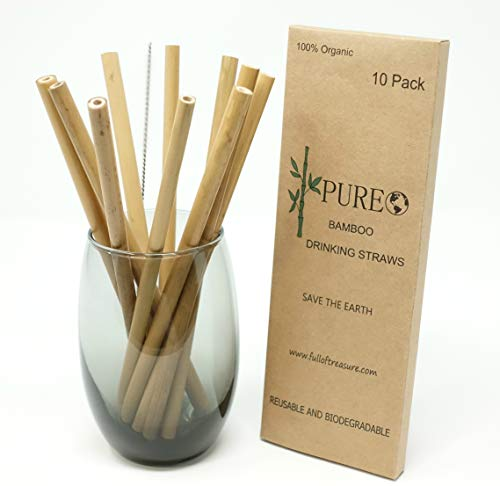 Organic Bamboo Straws | All Nature Biodegradable Reusable Bamboo Drinking Straws | Set of 10 Pack 8"