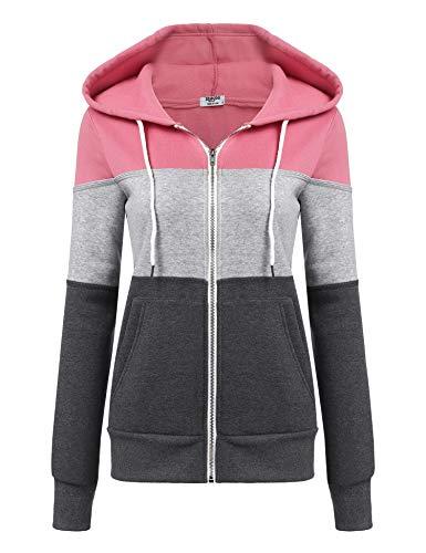 Pinspark Damen Sweatjacke Hoodie Sweatshirt Kapuzenpullover Kapuzenjacke Pullover Oberteile Pulli mit Kapuzen und Zip