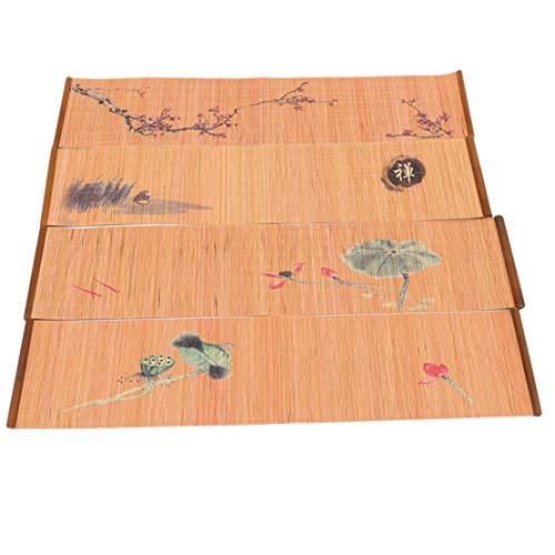 Kissherely Tapis de thé en bambou naturel Accessoires de thé (Koi)