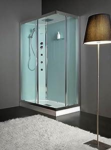 grandform Essential Idro 100x 80C/plato ducha H 10cm Cabina multifunción–Marco cromo + Cristal 6mm templado transparente
