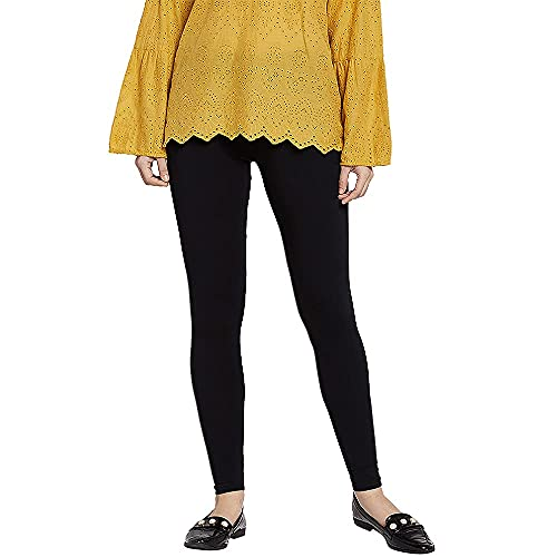 GO COLORS Women's Lycra Ankle Length Skinny Fit Legging (Black, Large)