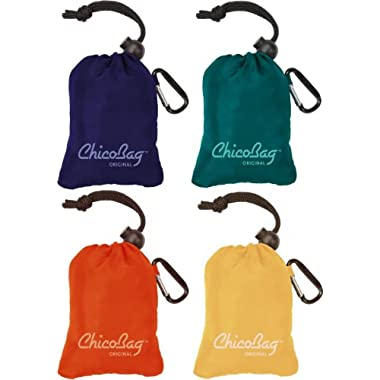 ChicoBag Original Reusable Shopping Tote / Grocery Bag (Variety 4 Pack - Mazarine Blue, Aqua, Orange Peel, and Yellow)