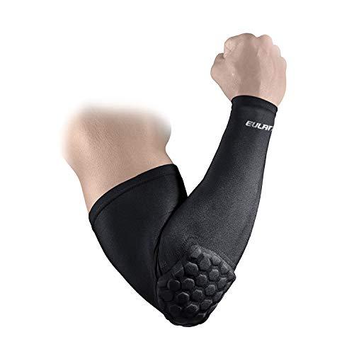 EULANT Coderas Baloncesto para Hombre y Mujer, Manguitos de Compresión Brazo, Protecciones de Brazo por Futbol Voleibol Softball Críquet Ciclismo Running, Black XL