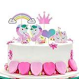 ZEWOO GâTeau Licorne, Décoration de Gâteaux Licorne Joyeux Anniversaire De GâTeau DéCorer Topper Gateau pour CéLéBrer Une Licorne De Votre Enfant Anniversaire Fait Main Party Supplies DIY (Rainbow)