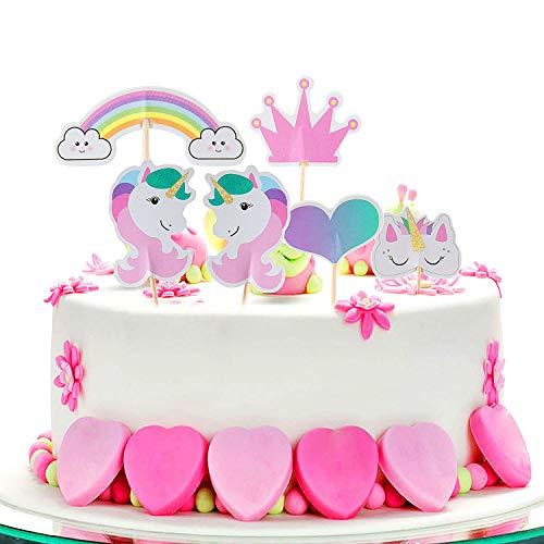 Cake Topper de Unicornio Topper,ZeWoo 48 Piezas de Tartas en Corazón Corona Arco Iris Decoración de Pasteles para Fiesta Temática y Tarta de Cumpleaños