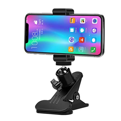 DYHQQ Soporte para teléfono con Abrazadera, Soporte de Abrazadera de Escritorio para teléfono con cámara, luz LED de Anillo, cámara Web, Monitor de bebé, Paquete de Clip de Mesa con Adaptador