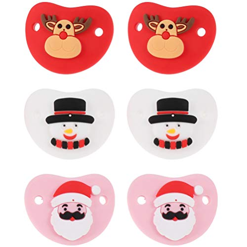 VOSAREA 6pcs Silicone Baby Pacifier Christmas Snowman Santa Claus Reindeer Pacifier Baby Teether Toy for Baby Toddler Girl Boy Xmas Supplies