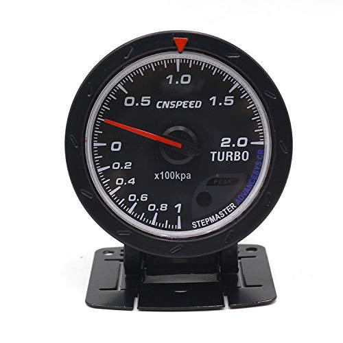 Dhmm123 Digital 60 MM Auto Turbo Ladedruckanzeige Rot & Weiß Beleuchtung BAR Typ Schwarz Gesichtsdruckanzeige Auto Meter Spezifisch