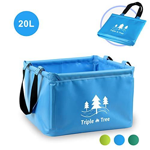 TRIPLE TREE Outdoor Faltschüssel Faltbarer Eimer 20L Vier Ecken Sind Mit PVC-Rohr befestigt, Multifunktionseimer, Einfach zu Tragen, Geeignet für Camping, Tourismus, Angeln usw.(Balu)